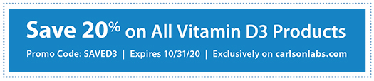 Save 20% on all Vitamin D3 Products with Promo Code SAVED3