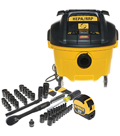 dewalt vac promo with tool set and tape measure