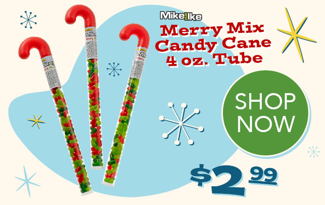 MIKE AND IKE Merry Mix 4 oz. Candy Cane Tube - $24.99 - SHOP NOW