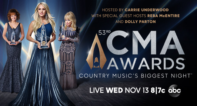 Hosted by Carrie Underwood with special guest hosts Reba McEntire and Dolly Parton | 53rd CMA Awards Live Wednesday, November 13 8/7c on ABC | Country Music's Biggest Night