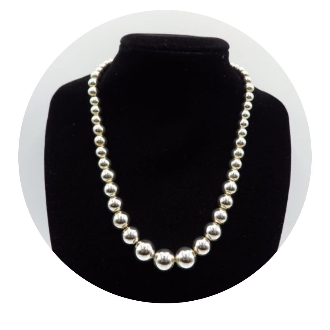 Tiffany & Co Sterling Graduated Bead Necklace 28g