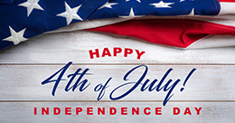 "the text ""4th july happy independence day"" written below american flag"