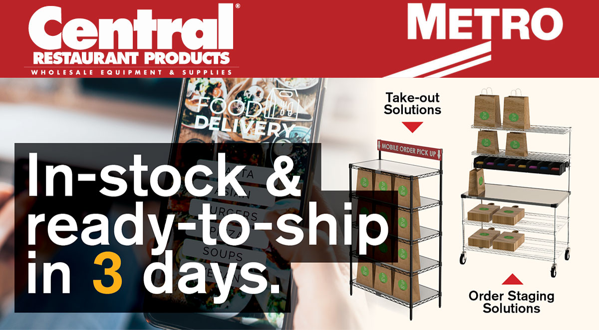 In-stock and ready-to-ship in 3 days with Metro and Central Restaurant Products