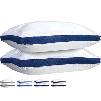 Gusseted Quilted Pillow - Set of 2 Premium Quality Bed Pillows King-Queen