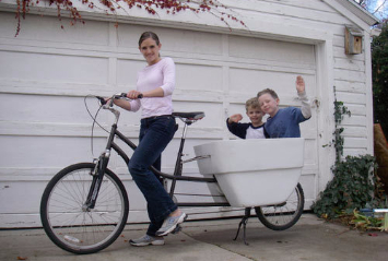 Riding around in the neighborhood with all the kids