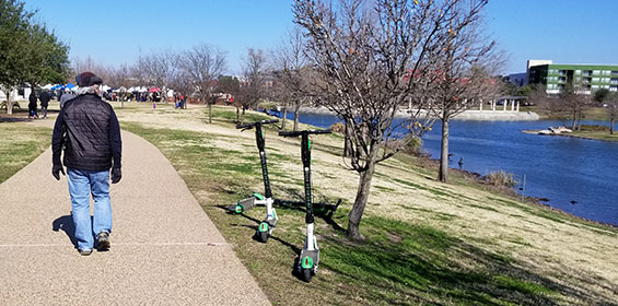 A person on a shared use path with dockless scooters parked in grass along a lake.