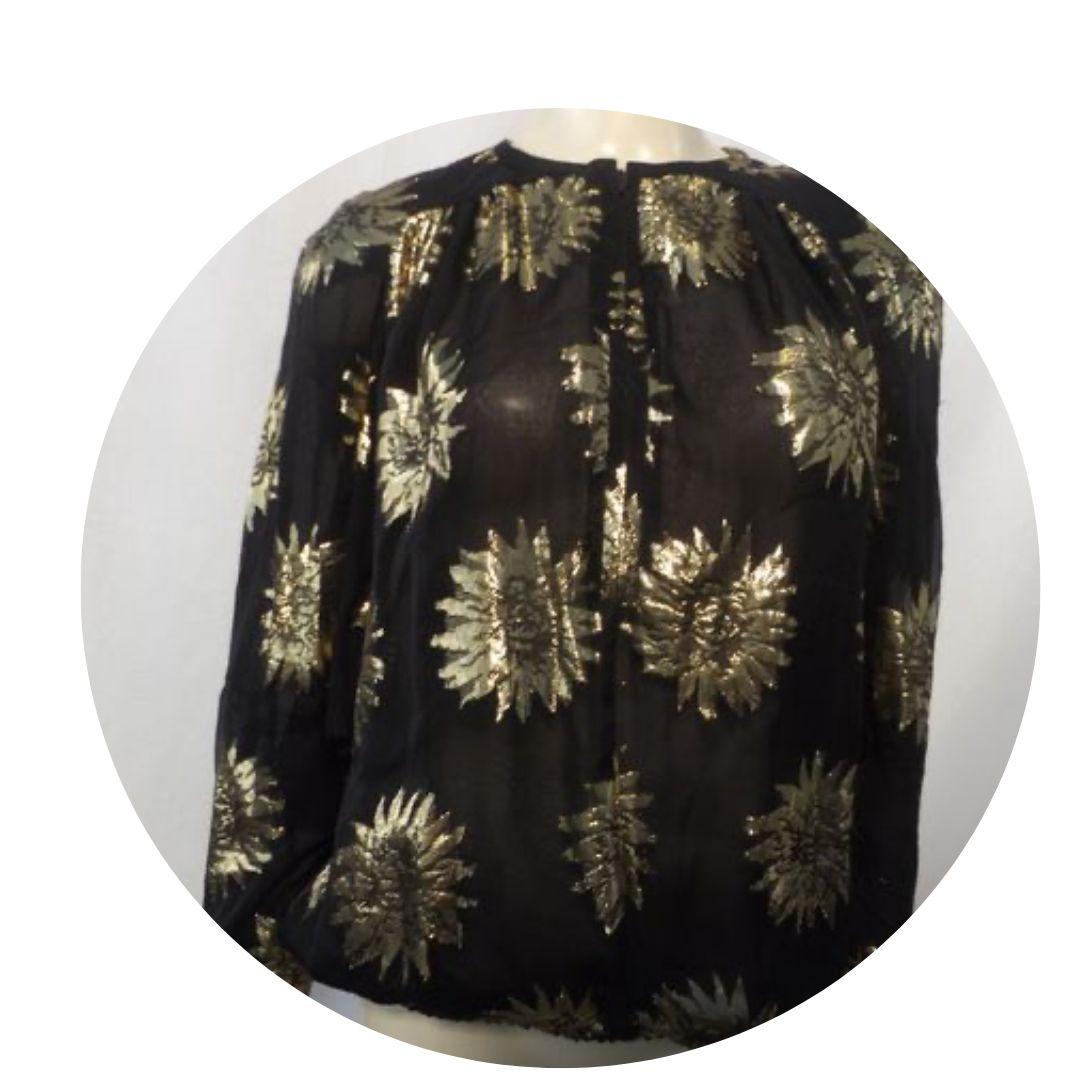 Valentino Night Sheer Blouse Black & Gold Size 6