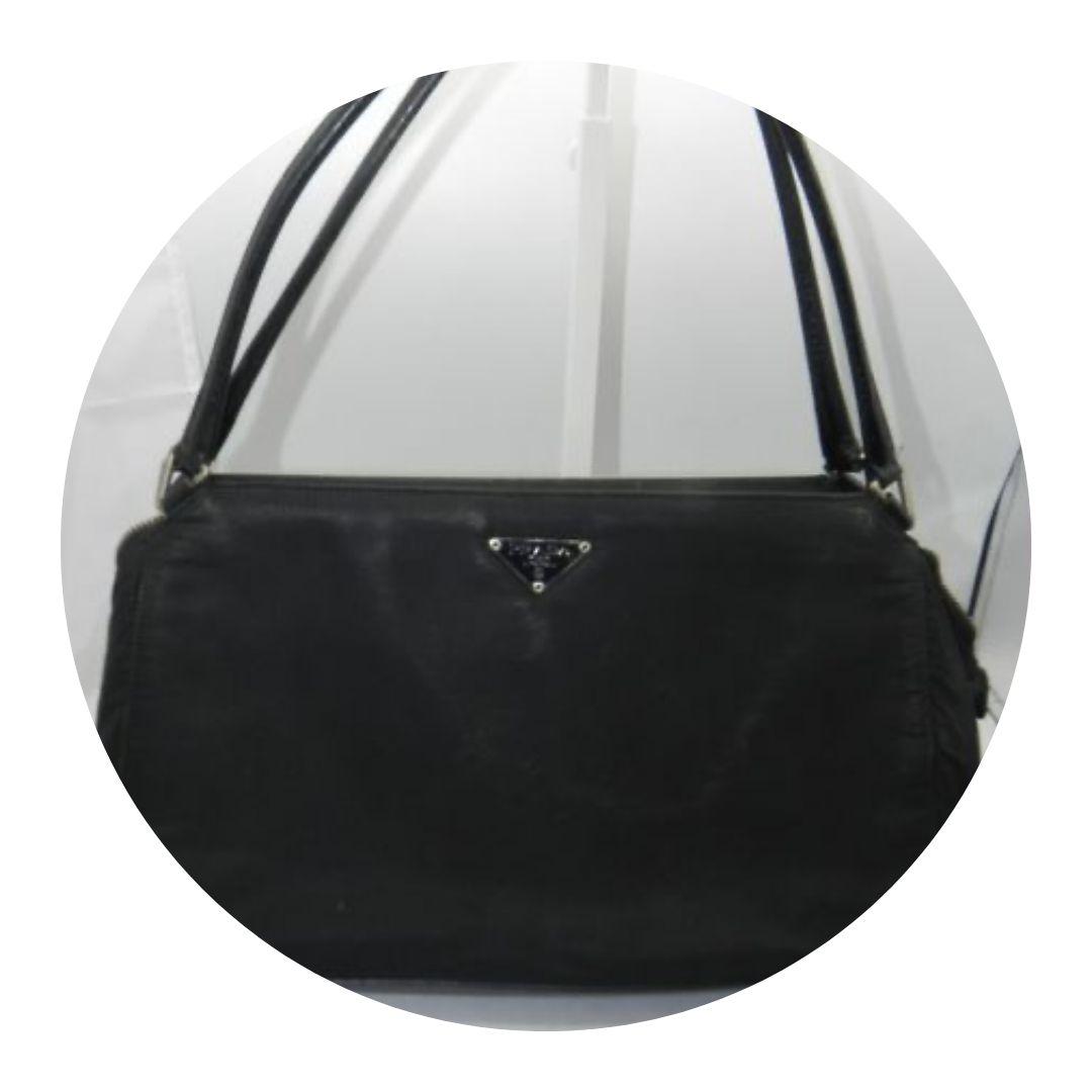 Prada Milano Black Nylon/leather Purse Bag 22