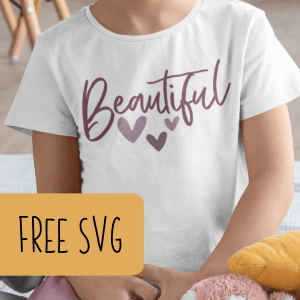 Free SVG 'Beautiful' Cut File for Silhouette or Cricut (Portrait, Cameo, Curio or Explore, Maker, Joy) - by cuttingforbusiness.com.