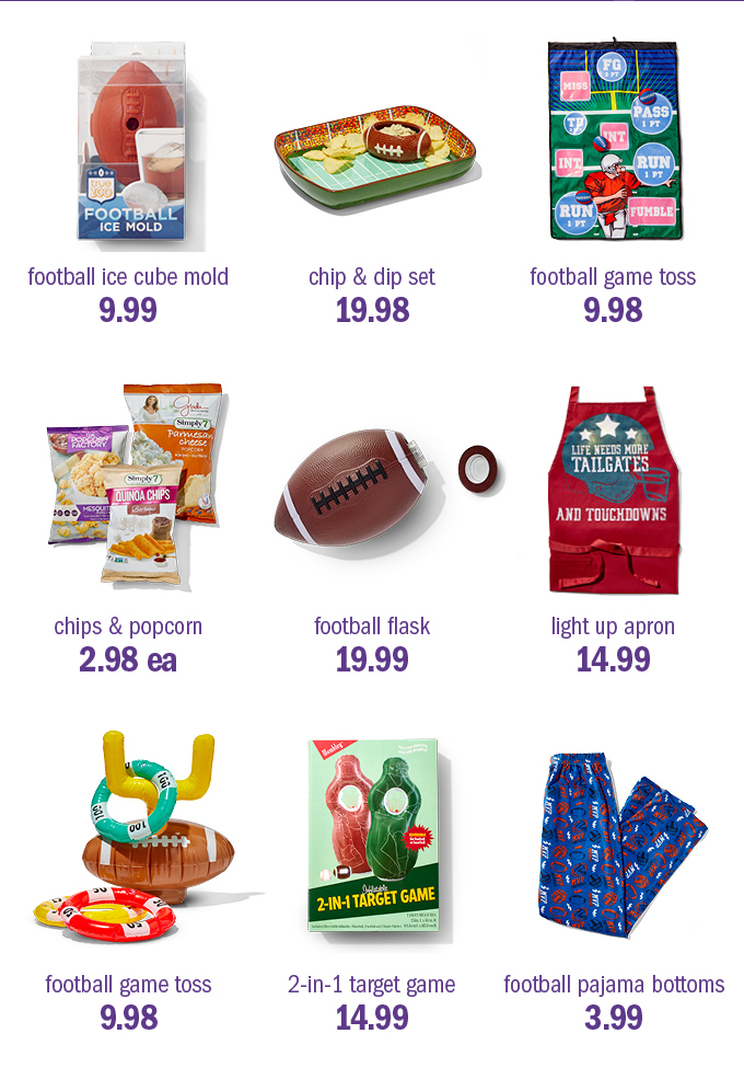 Football ice cube mold 9.99 | chip & dip set 19.98 | football game toss 9.98