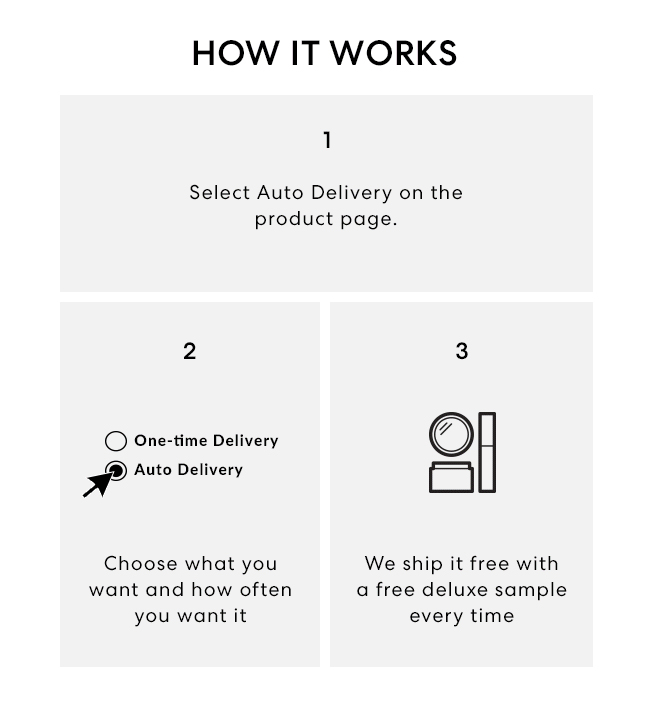 How it works? 1. Select Auto Delivery on the product page. 2. Choose what you want and how often you want it. 3. We ship it free with a free deluxe sample every time.