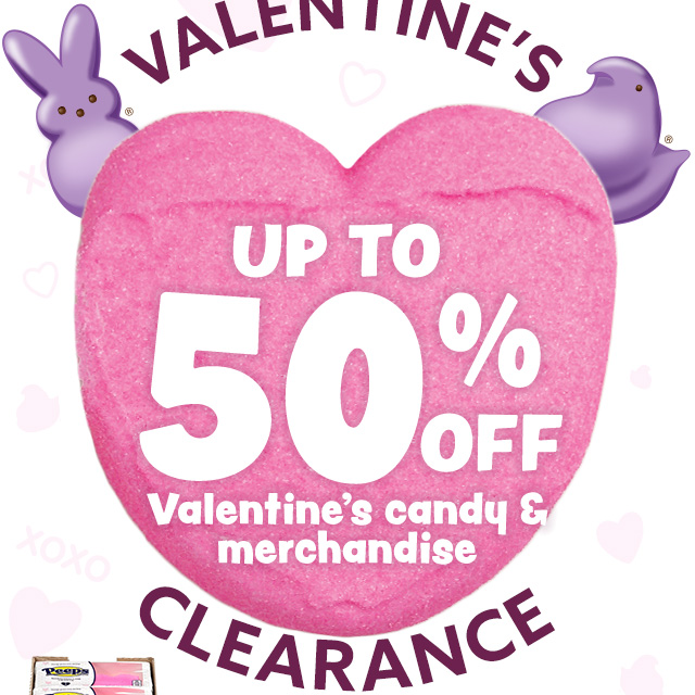 Up to 50% off Valentine candy & merchandise