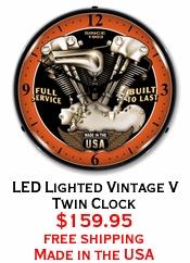 LED Lighted Vintage V Twin Clock