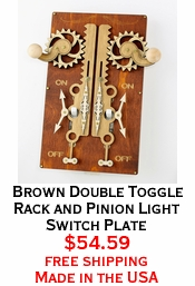 Brown Double Toggle Rack and Pinion Light Switch Plate