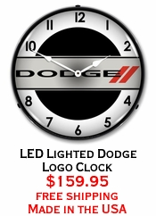 LED Lighted Dodge Logo Clock