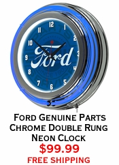 Ford Genuine Parts Chrome Double Rung Neon Clock