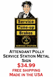 Attendant Polly Service Station Metal Sign