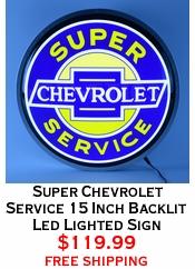 Super Chevrolet Service 15 Inch Backlit Led Lighted Sign