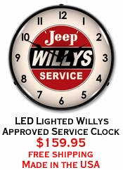 LED Lighted Willys Approved Service Clock