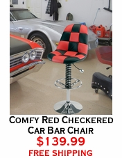 Comfy Red Checkered Car Bar Chair