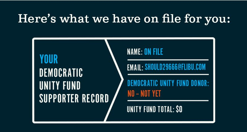 Here is what we have on file for you. Your Democratic Unity Fund supporter record.