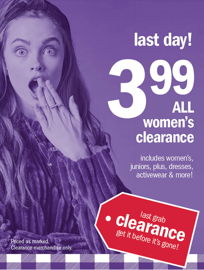 last day! 399 all women's clearance