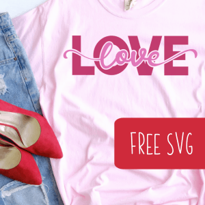Free Valentine's Day 'Love' SVG Cut File for Silhouette or Cricut (Portrait, Cameo, Curio, Mint, Explore, Maker, Joy) - by cuttingforbusiness.com.