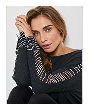 Grey Striped Sleeve Jumper