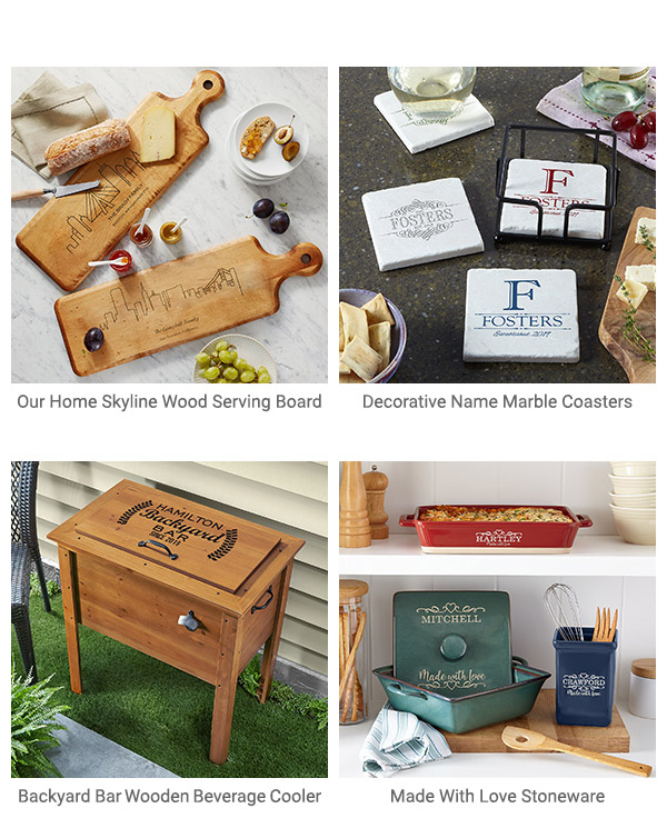 Our Home Skyline Wood Serving Board, Decorative Name Marble Coasters, Backyard Bar Wooden Beverage Cooler, Made With Love Stoneware