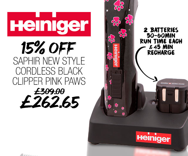 15% Off Heiniger Saphir New Style Cordless Black Clipper Pink Paws