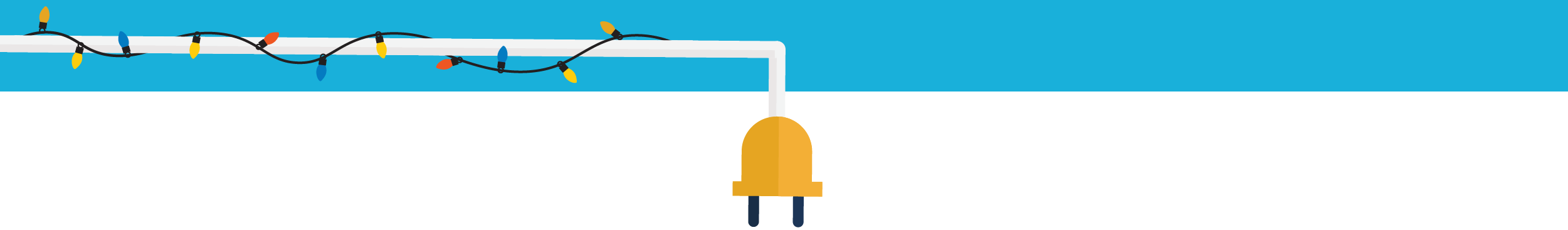 Illustration of a plug with lights hanging around it.