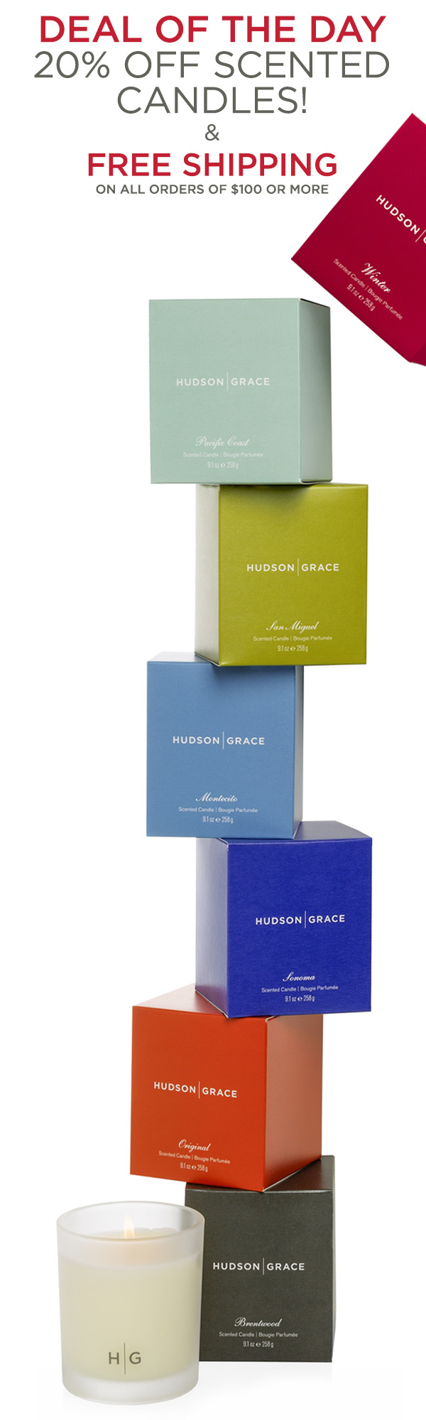 Deal of the day - 20% off Scented Candles! And Free Shipping on all orders of $100.
