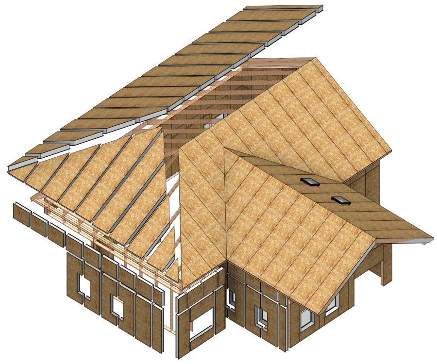 home framed with SIP panels in Autodesk Revit | AGACAD Wood Framing SIPS BIM design software