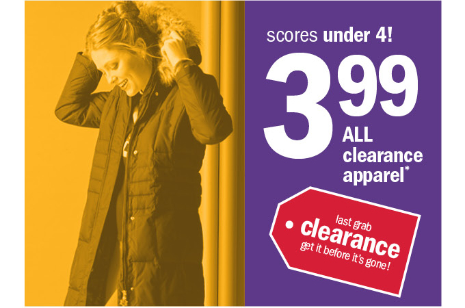 scores under 4! 3.99 all clearance apparel*