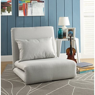 Relaxie Linen Flip Chair | 5-Position Adjustable Back | Convertible | Sleeper Dorm Bed Couch Lounger Seat Sofa By Inspired Home