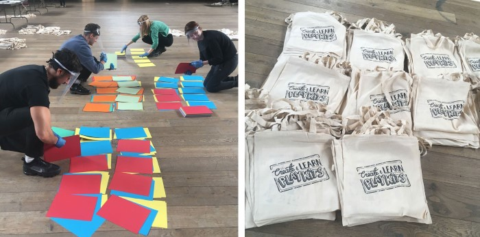 LEFT: 4 volunteers organise bright sheets of paper. RIGHT: piles of cream tote bags with the text, Create & Learn Playkits.