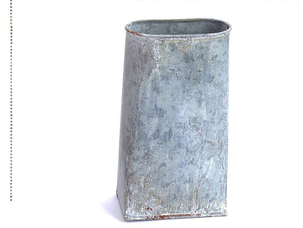 Oval Top Weathered Galvanized Metal Vase