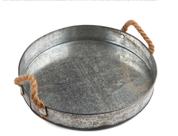 Round Rustic Galvanized Tray with Rope Handles