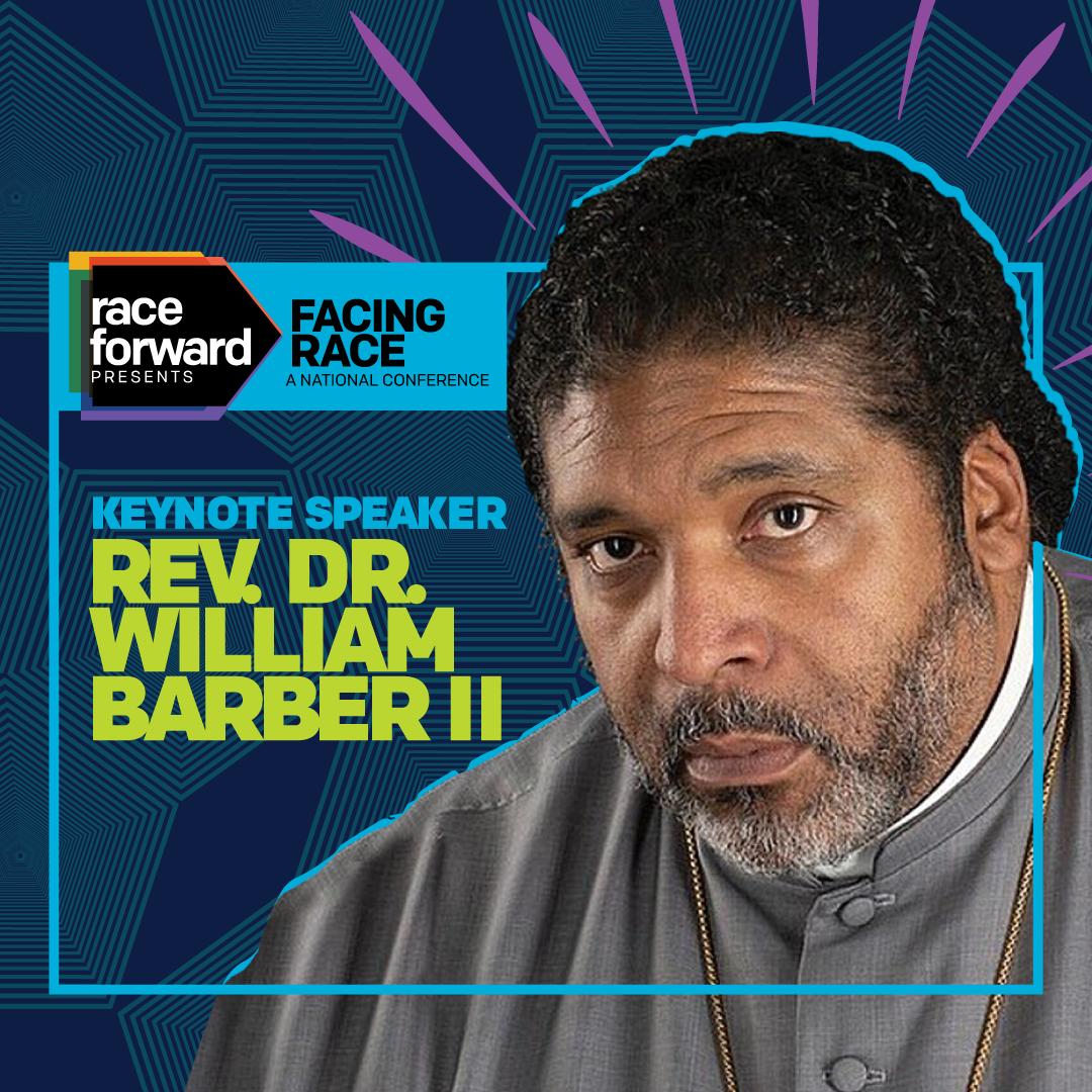 illuminated photo of the Rev. Dr. Barber, Facing Race Keynote Speaker
