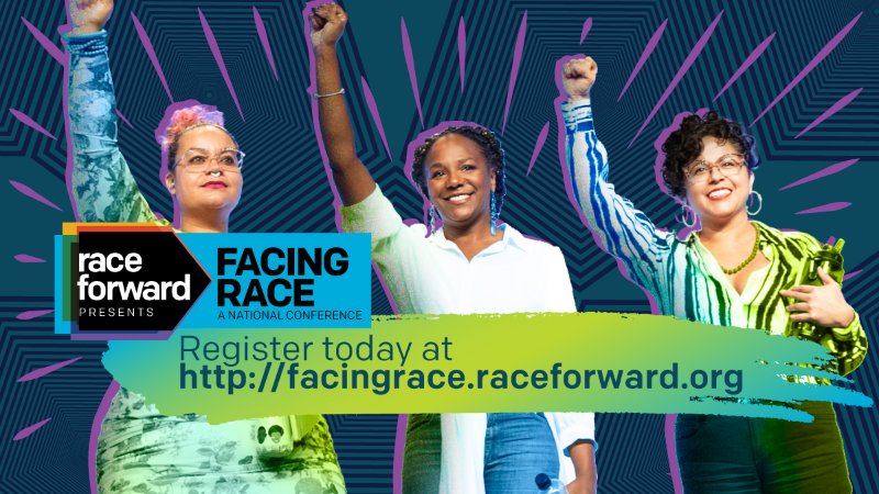 three people with fists raised and radiant color surrounding them.  A cal to action reads, register today ...