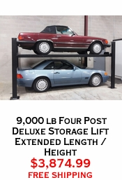 9,000 lb Four Post Deluxe Storage Lift Extended Length / Height