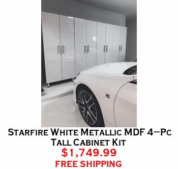 Starfire White Metallic MDF 4-Pc Tall Cabinet Kit