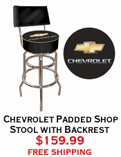 Chevrolet Padded Shop Stool with Backrest