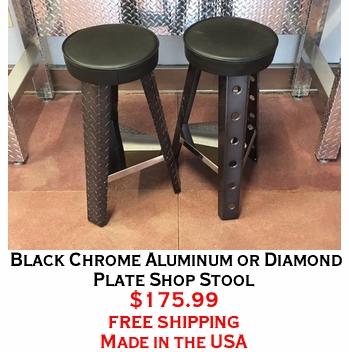 Black Chrome Aluminum or Diamond Plate Shop Stool
