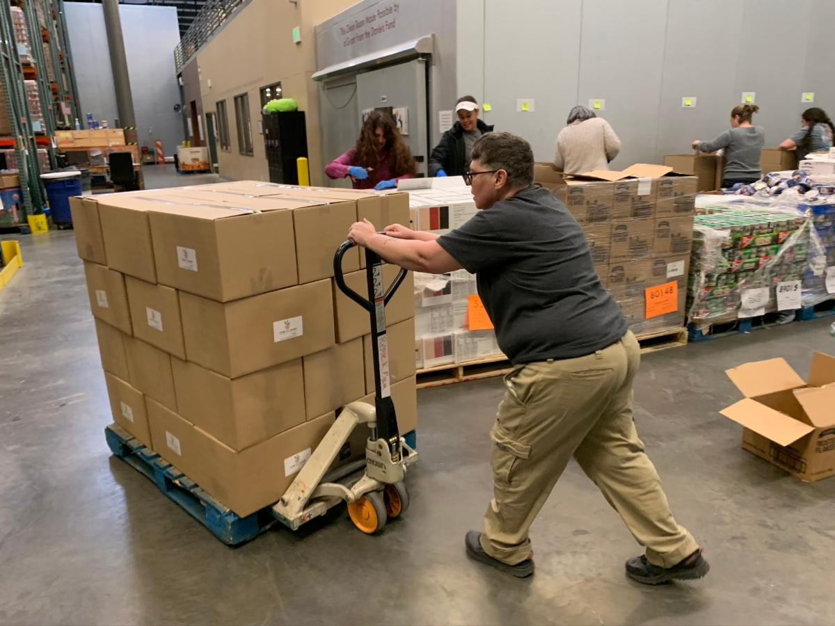 Emergency Food Boxes in production