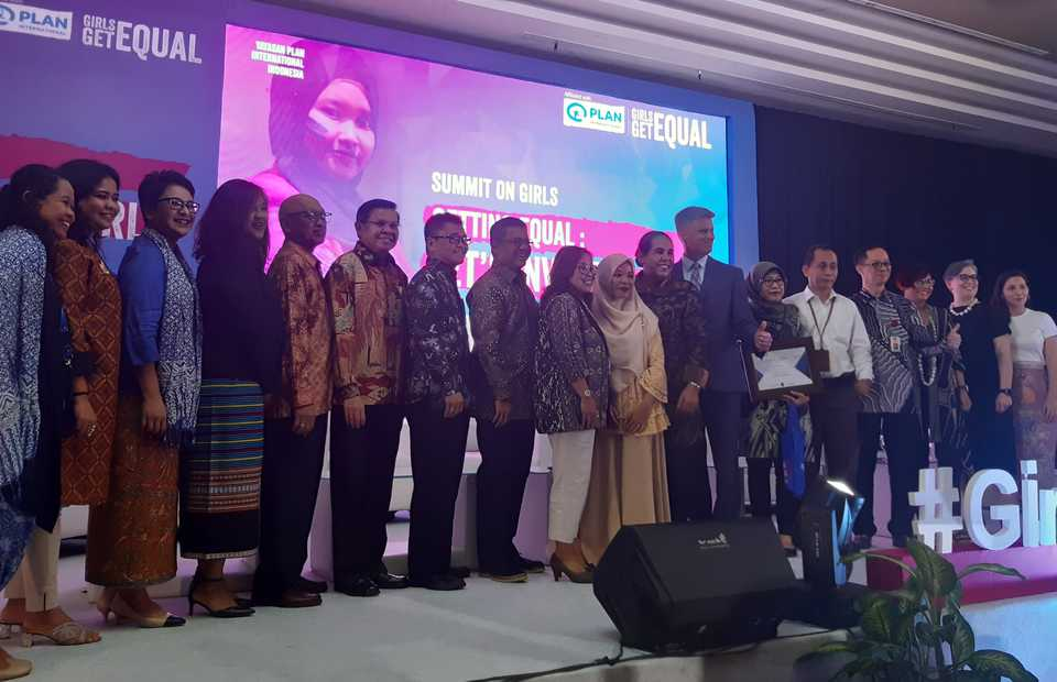 Speakers of the Summit on Girls event in Balai Kartini, Jakarta on Tuesday. (JG Photo/Jayanty Nada Shofa)