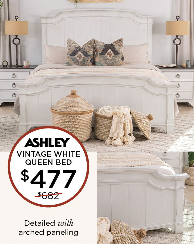 Vintage White Queen Bed - $477