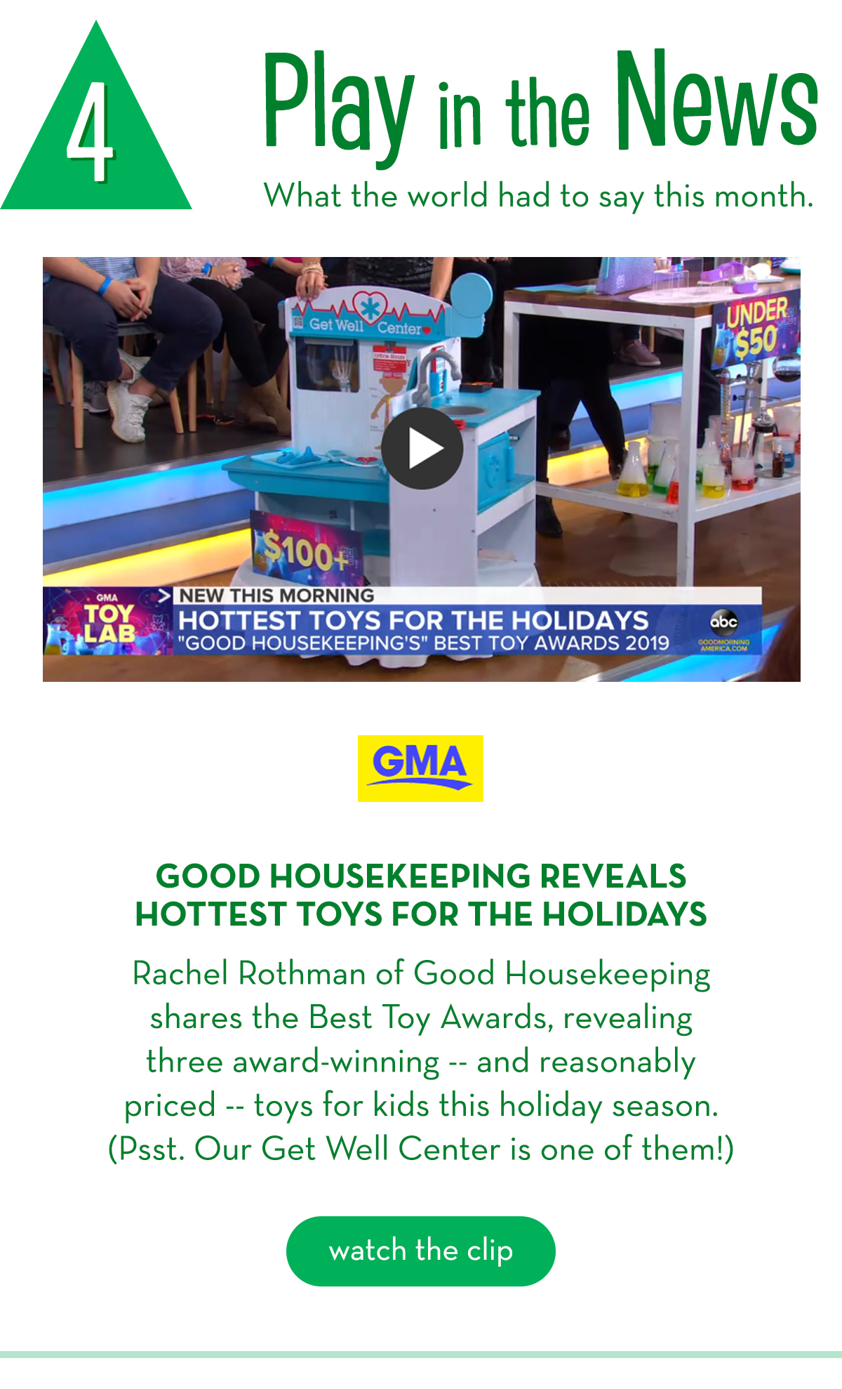 4. Play in the News: What the world had to say this month. - GMA: Good Housekeeping reveals hottest toys for the holidays!