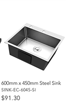 600mmx450mmStainless Steel Sink