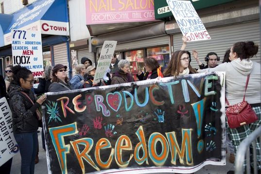 """A group of people hold a huge sign saying """"Reproductive Freedom"""" in bold colorful letters"""
